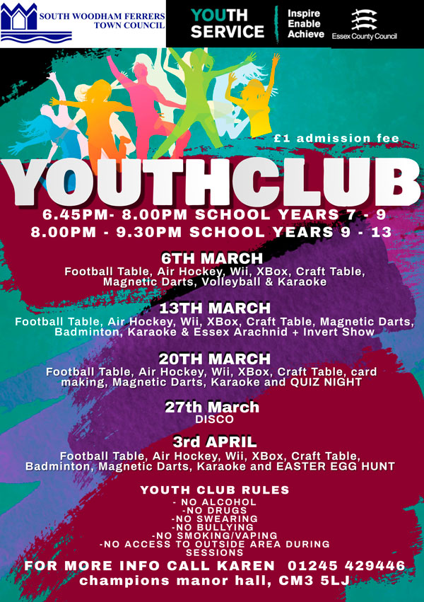 March 2020 Youth Club Poster